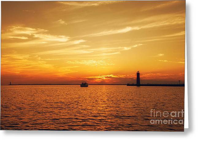 Lake House Greeting Cards - Golden Muskegon Night Greeting Card by Emily Kay
