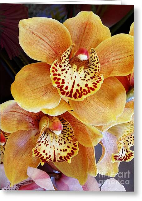 Pink Gold Flora Greeting Cards - Golden Orchid Greeting Card by Kaye Menner