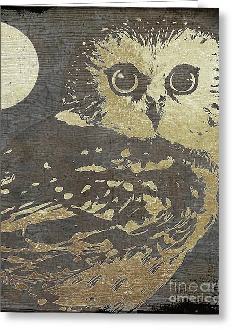 Golden Owl Greeting Card by Mindy Sommers