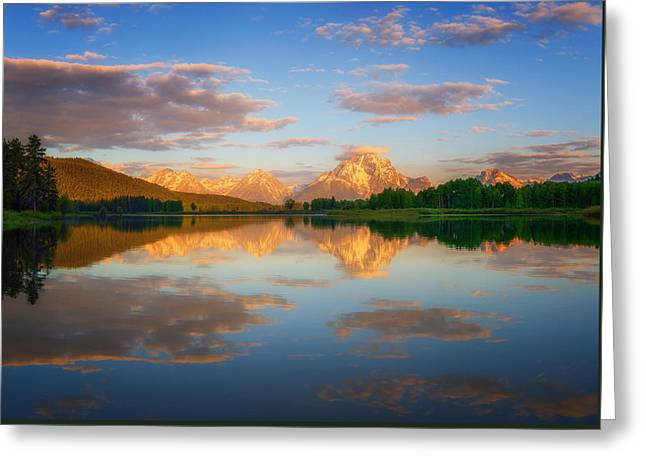 Wyoming Photography Greeting Cards - Golden Oxbow Light Greeting Card by Darren  White