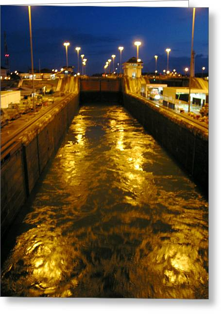 Golden Panama Canal Greeting Card by Phyllis Kaltenbach