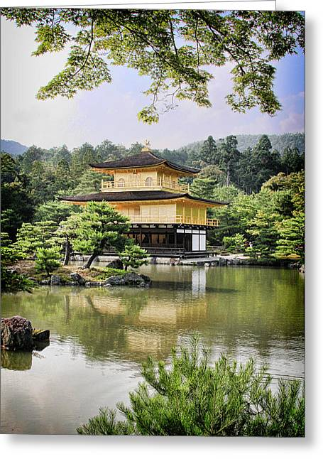 Kyoto Digital Greeting Cards - Golden Pavilion Greeting Card by Nancy Ingersoll