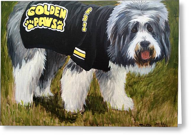 Mascots Drawings Greeting Cards - Golden Paws Greeting Card by Dustin Miller