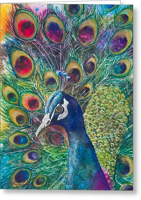 Tail Feather Greeting Cards - Golden Peacock Greeting Card by Patricia Allingham Carlson