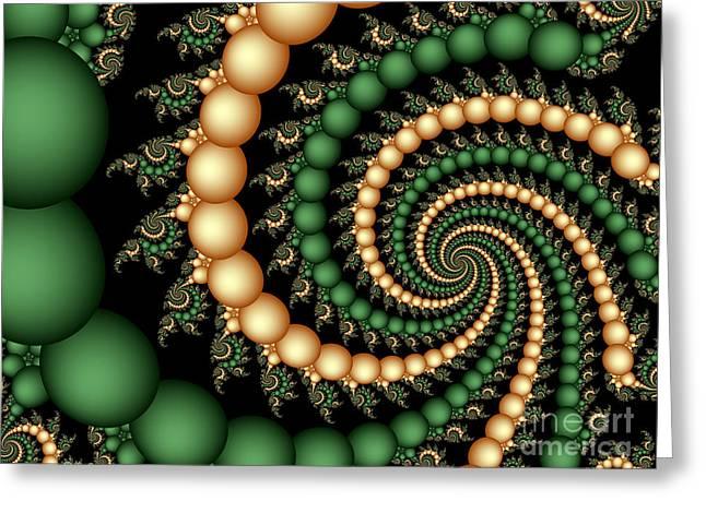 Digital Greeting Cards Greeting Cards - Golden Pearls Greeting Card by Sandra Bauser Digital Art