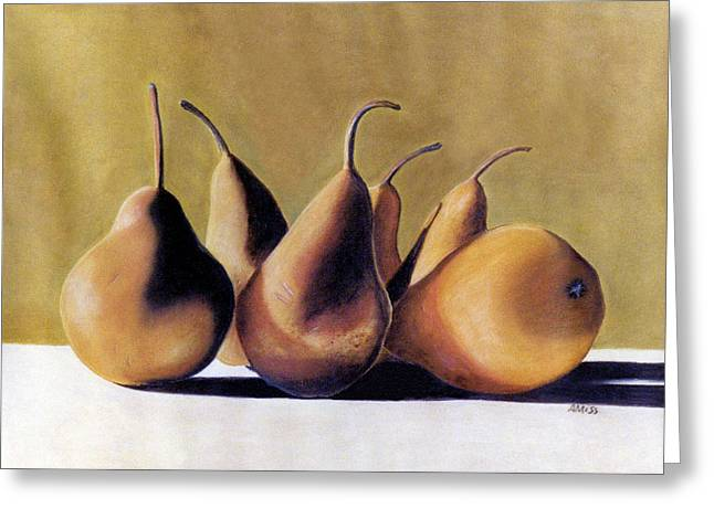 Food And Beverage Pastels Greeting Cards - Golden Pears 2 Greeting Card by Jan Amiss