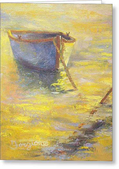 Row Boat Drawings Greeting Cards - Golden Pond Greeting Card by Tom Forgione