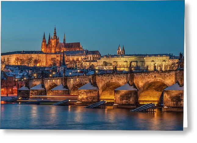 Prague Castle Greeting Cards - Golden Prague panorama Greeting Card by Martin Capek