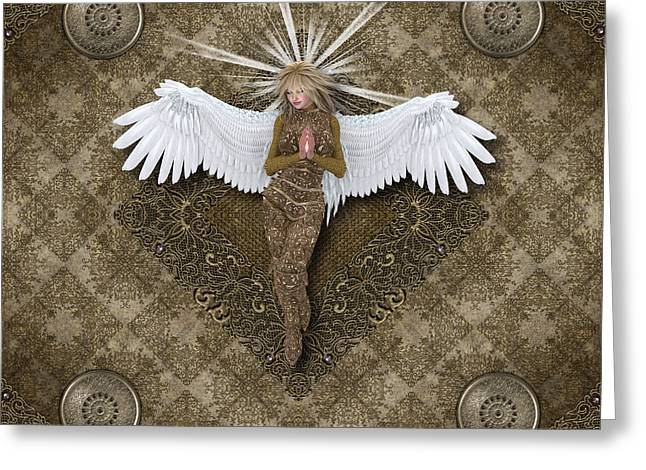 Empowerment Greeting Cards - Golden Praying Angel Greeting Card by Charm Angels