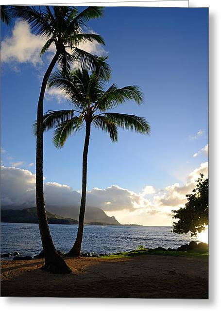 Ocean Photography Greeting Cards - Golden Rays on Hanalei Bay Greeting Card by Kathy Yates