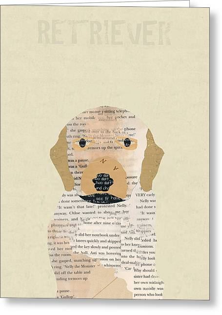 Retriever Prints Digital Art Greeting Cards - Golden Retriever Greeting Card by Bri Buckley