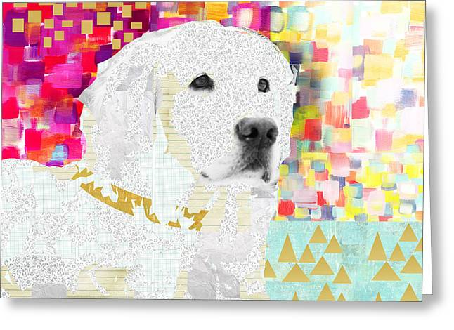 Golden Retriever Collage Greeting Card by Claudia Schoen