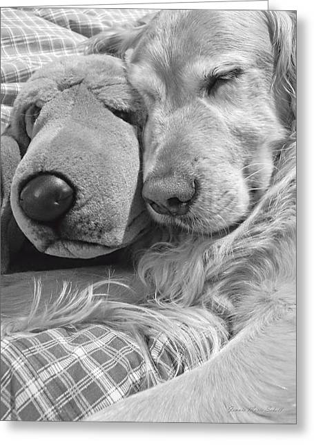 Sleeping Dogs Greeting Cards - Golden Retriever Dog and Friend Greeting Card by Jennie Marie Schell