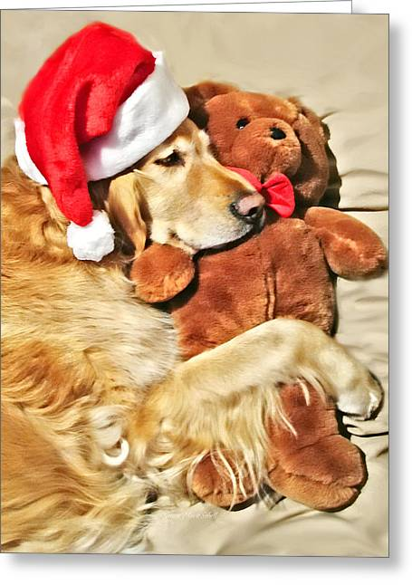 Sporting Dog Greeting Cards - Golden Retriever Dog Christmas Teddy Bear Greeting Card by Jennie Marie Schell