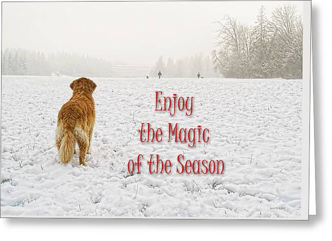 Golden Brown Greeting Cards - Golden Retriever Dog Magic of the Season Greeting Card by Jennie Marie Schell