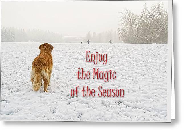 Golden Retriever Cards Greeting Cards - Golden Retriever Dog Magic of the Season Greeting Card by Jennie Marie Schell