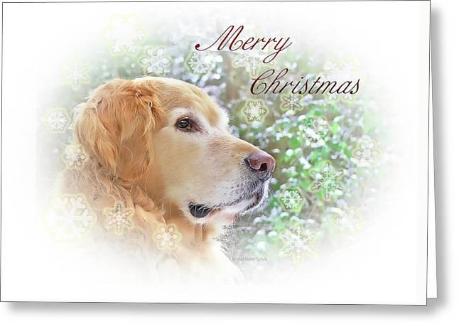 Golden Retriever Cards Greeting Cards - Golden Retriever Dog Merry Christmas Card Greeting Card by Jennie Marie Schell