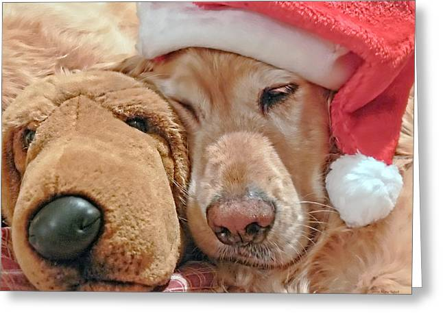 Sleeping Dogs Greeting Cards - Golden Retriever Dog Santa Hat and Friend Greeting Card by Jennie Marie Schell
