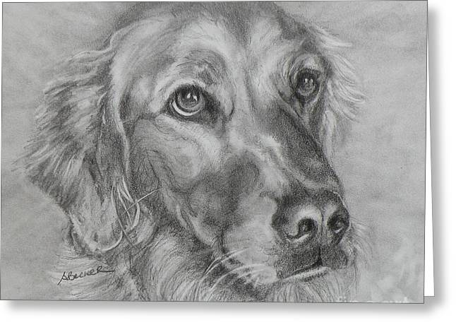 Dog Pencil Greeting Cards - Golden Retriever Drawing Greeting Card by Susan A Becker