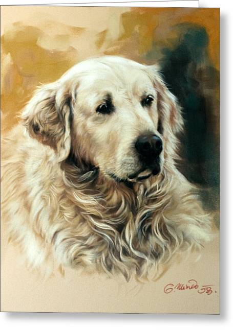 Labradors Pastels Greeting Cards - Golden Retriever Greeting Card by Gerard Mineo