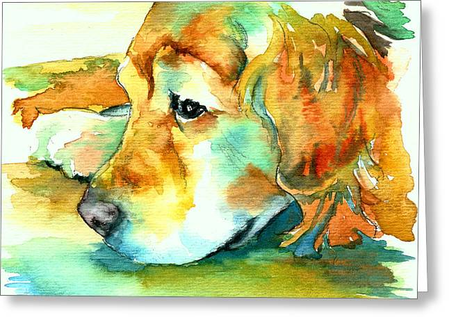 Yellow Dog Paintings Greeting Cards - Golden Retriever Profile Greeting Card by Christy  Freeman