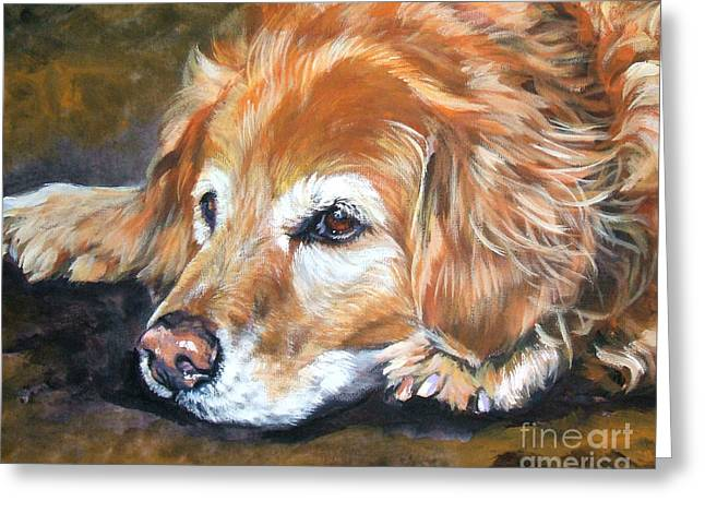 Dog Portraits Greeting Cards - Golden Retriever Senior Greeting Card by Lee Ann Shepard