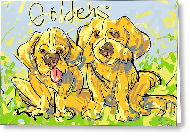 Bred Drawings Greeting Cards - Golden Retrievers Greeting Card by Brett LaGue