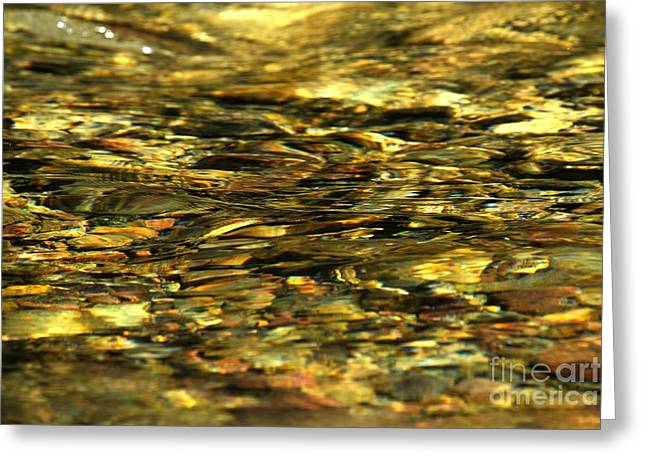 North Fork Greeting Cards - Golden River Rocks Greeting Card by Adam Jewell