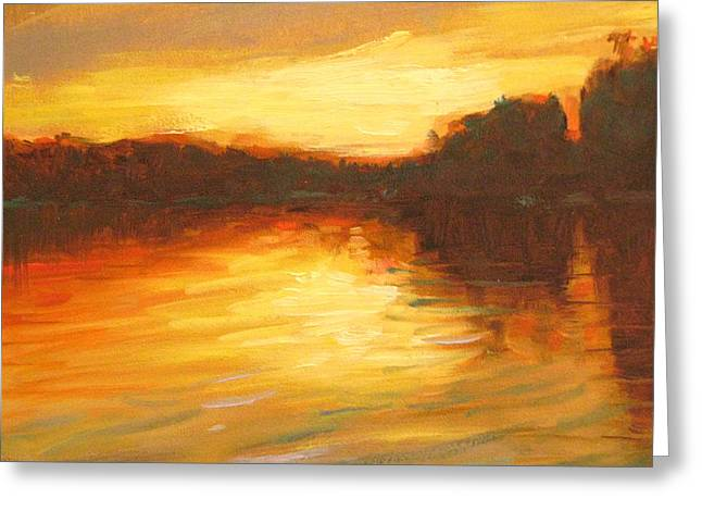 Sea View Greeting Cards - Golden Greeting Card by Robie Benve