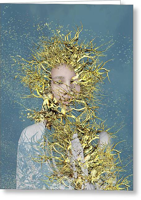 Manipulated Greeting Cards - Golden Root  Greeting Card by Bojan Jevtic