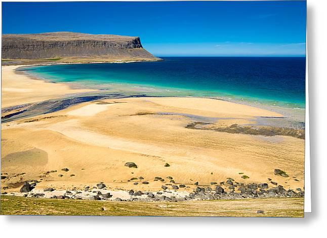 Beach Landscape Greeting Cards - Golden sand beach in Iceland Westfjords Greeting Card by Matthias Hauser