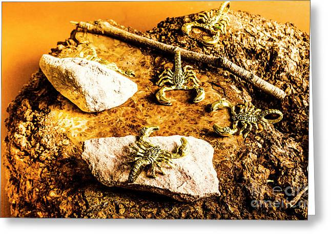 Golden Scorpion Amulets Greeting Card by Jorgo Photography - Wall Art Gallery