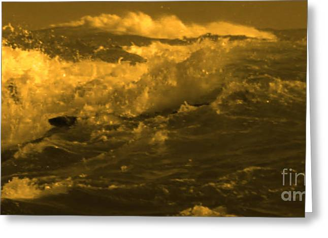 Commercial Photography Greeting Cards - Golden Sea Waves Graphic Digital poster art by NavinJoshi at FineArtAmerica.com ideal for wall decor Greeting Card by Navin Joshi