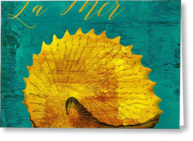 Golds Greeting Cards - Golden Shell Greeting Card by Mindy Sommers