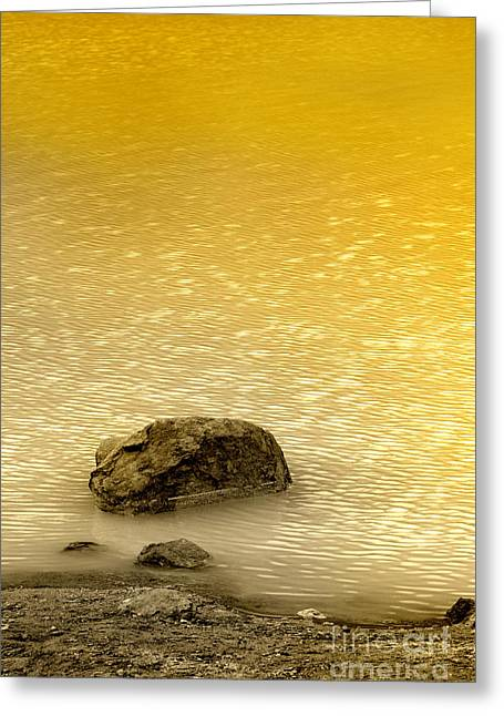 Water Scape Greeting Cards - Golden Silence Greeting Card by Charuhas Images
