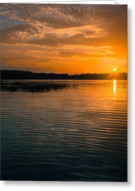 Reflection In Water Greeting Cards - Golden Skies Calm Waters Greeting Card by Parker Cunningham