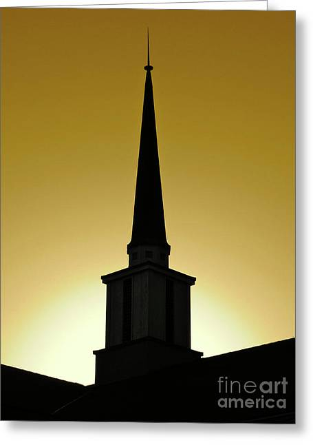 Sundown Greeting Cards - Golden Sky Steeple Greeting Card by CML Brown