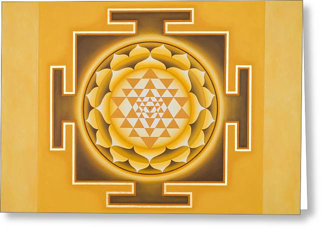 Mandala Greeting Cards - Golden Sri Yantra - The Original Greeting Card by Piitaa - Sacred Art