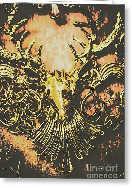 Golden Stag Greeting Card by Jorgo Photography - Wall Art Gallery