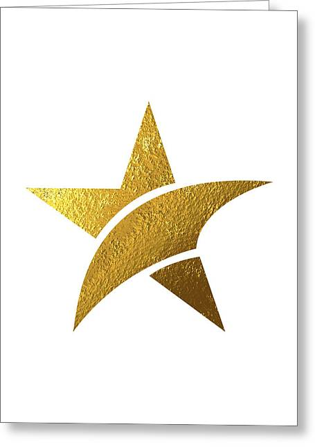 Golden Star Greeting Card by Bekare Creative