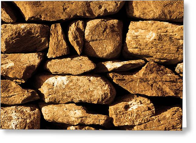 Dry Stone Wall. Greeting Cards - Golden Stone Wall Greeting Card by Aidan Moran