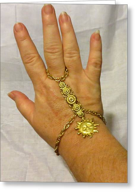 Sun Jewelry Greeting Cards - Golden Sun Hand Flower or Slave Bracelet Greeting Card by Victoria Beasley