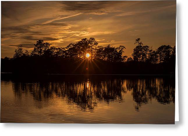 Golden Sunburst At The Lake New Jersey  Greeting Card by Terry DeLuco