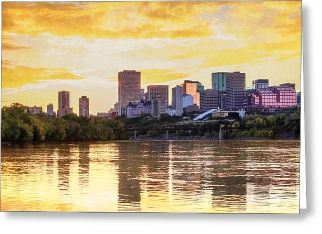 Golden Sunset In Edmonton Alberta Greeting Card by Carol Cottrell