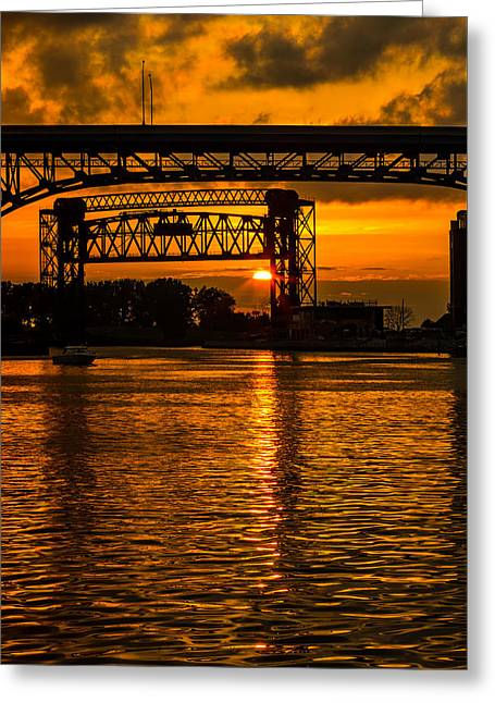 Train On Bridge Greeting Cards - Golden Sunset On The Cuyahoga Greeting Card by Dale Kincaid