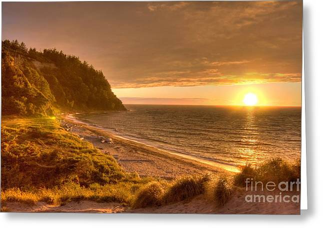 Juan De Fuca Greeting Cards - Golden Sunset Over Juan De Fuca Strait Greeting Card by Larry Whiting