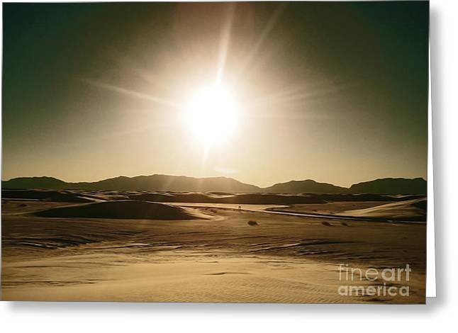 White Sands National Monument Greeting Cards - Golden Sunset Sands Greeting Card by Andrea Hazel Ihlefeld