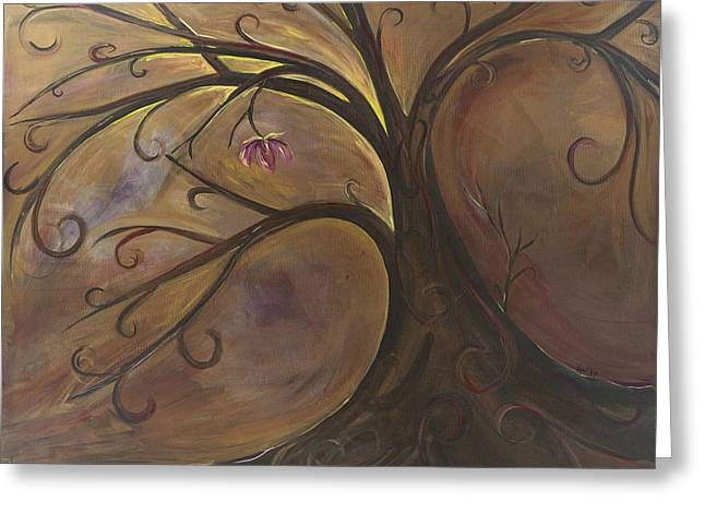 Golden Tree Of Life Greeting Card by Karen Ahuja