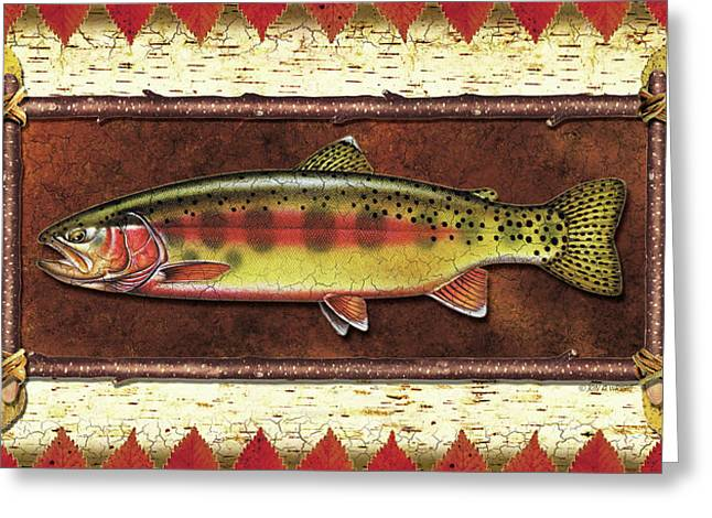 Trout Greeting Cards - Golden Trout Lodge Greeting Card by JQ Licensing