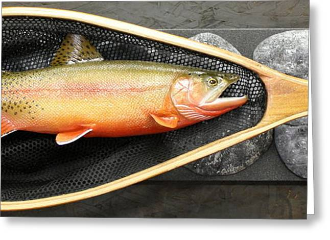 Seattle Sculptures Greeting Cards - Golden Trout River Slice Greeting Card by Eric Knowlton